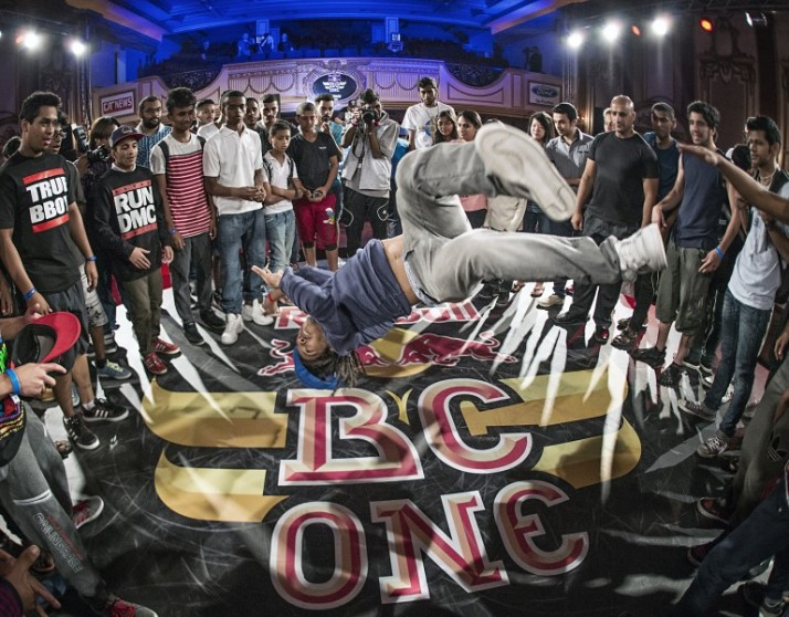 2013 winner B-Boy Huey Flava jumps into the cypher after Red Bull BC One Bahrain Cypher in the Alumni Club at Isa Bin Salman Cultural Hall in Adliya, Bahrain, on May 2nd, 2014.